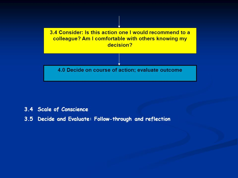 4.0 Decide on course of action; evaluate outcome