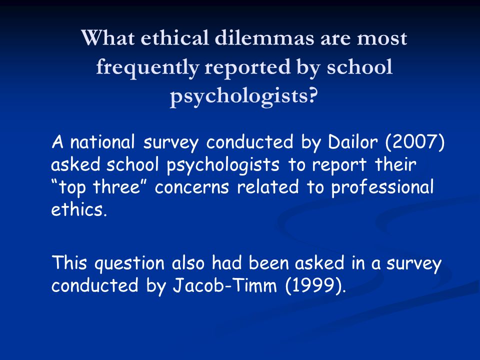 What ethical dilemmas are most frequently reported by school psychologists