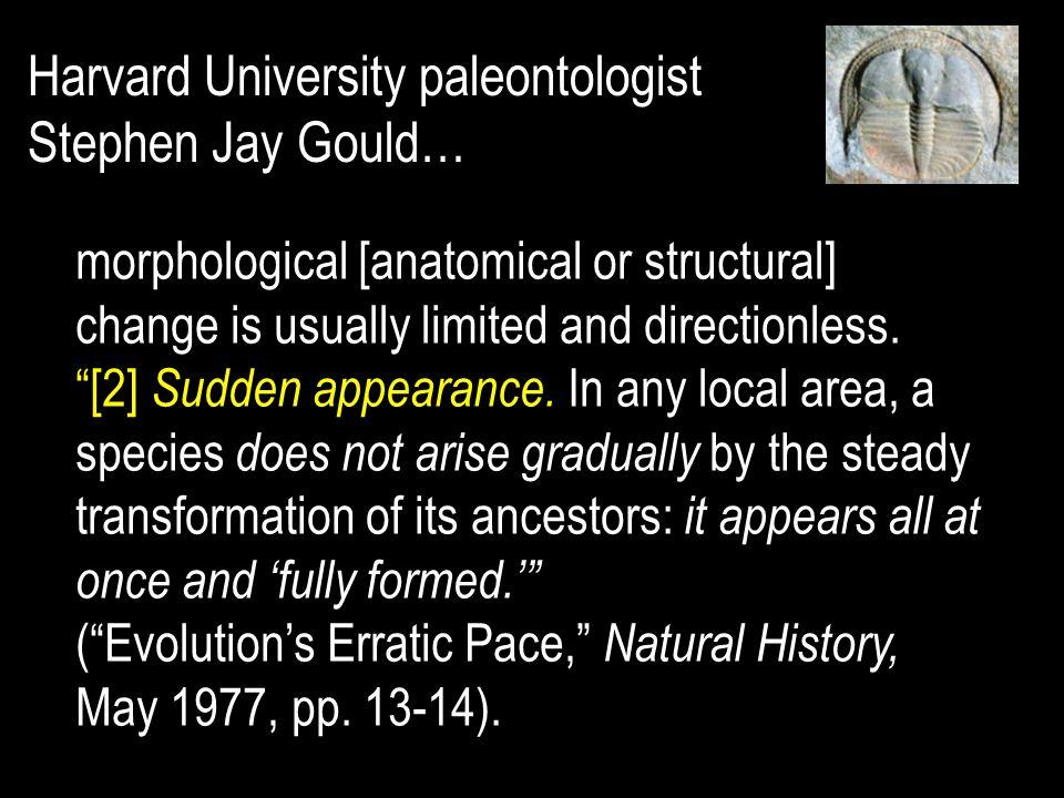 Harvard University paleontologist Stephen Jay Gould…