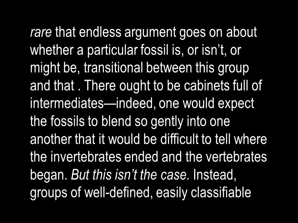 rare that endless argument goes on about whether a particular fossil is, or isn't, or might be, transitional between this group and that .