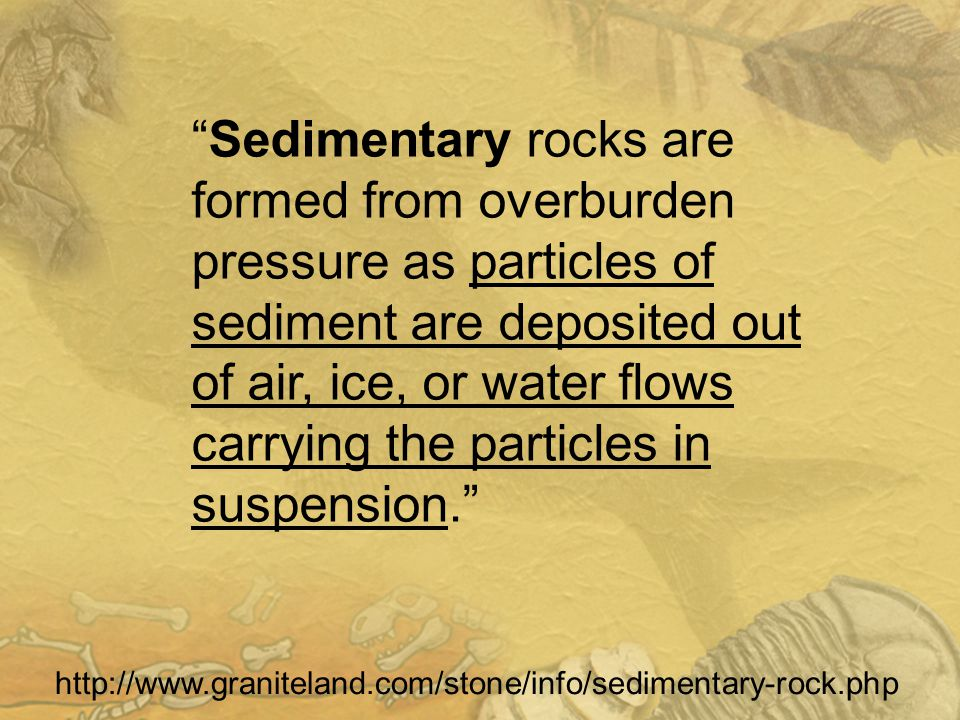 Sedimentary rocks are formed from overburden pressure as particles of sediment are deposited out of air, ice, or water flows carrying the particles in suspension.