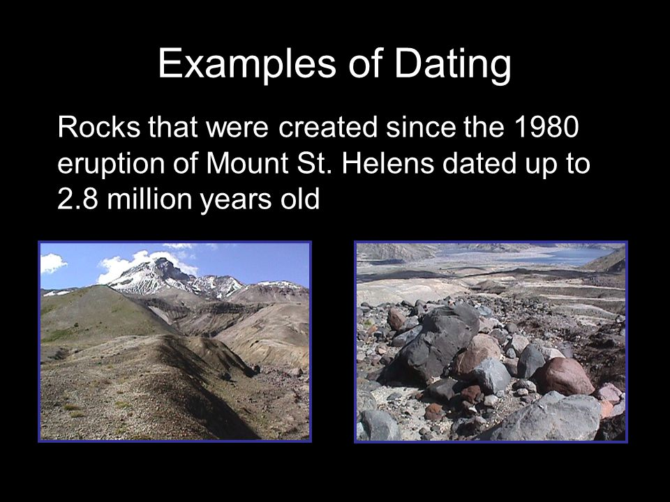 Examples of Dating Rocks that were created since the 1980 eruption of Mount St.