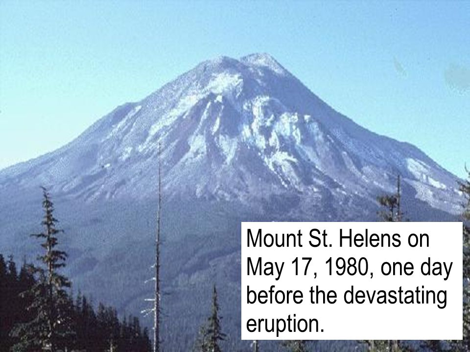 Mount St. Helens on May 17, 1980, one day before the devastating eruption.