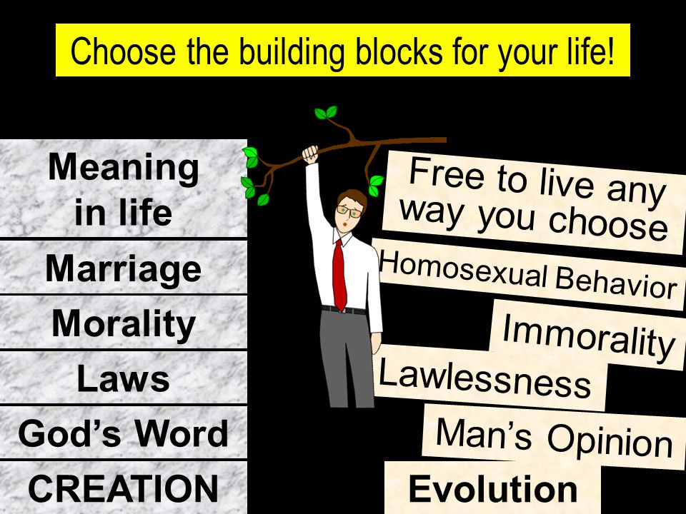 Meaning in life Marriage Morality Laws God's Word CREATION Evolution