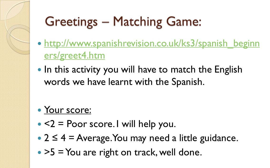 Greetings – Matching Game: