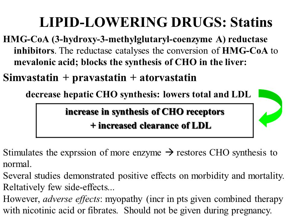 increase in synthesis of CHO receptors + increased clearance of LDL