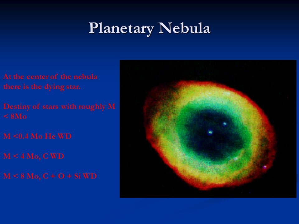 Planetary Nebula At the center of the nebula there is the dying star.