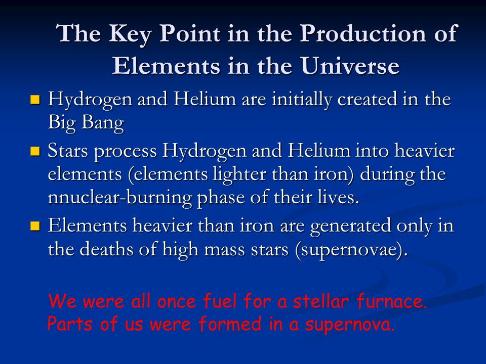 The Key Point in the Production of Elements in the Universe