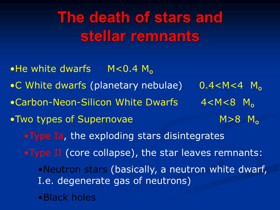 The death of stars and stellar remnants