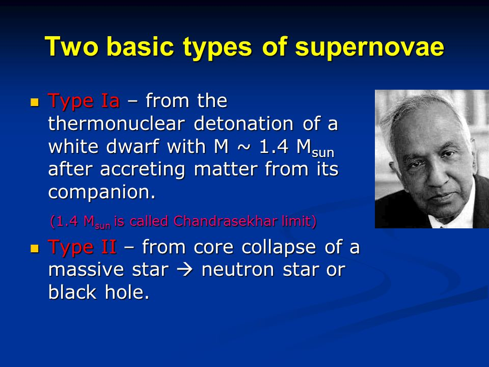 Two basic types of supernovae