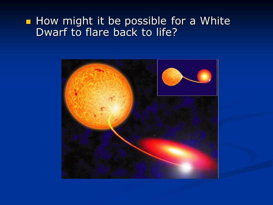 How might it be possible for a White Dwarf to flare back to life