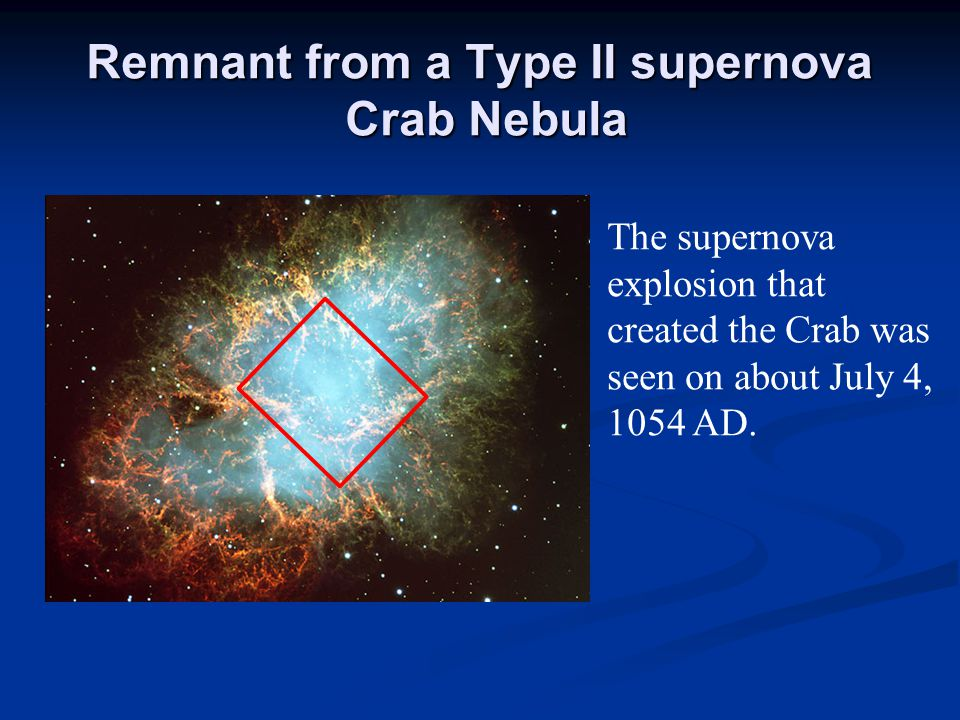 Remnant from a Type II supernova Crab Nebula