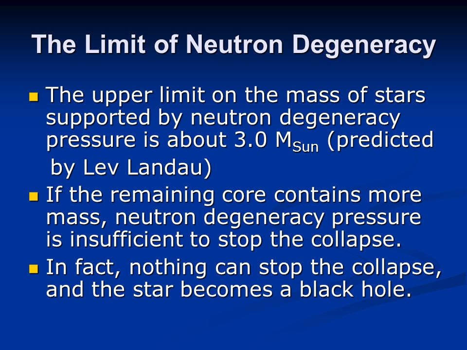The Limit of Neutron Degeneracy
