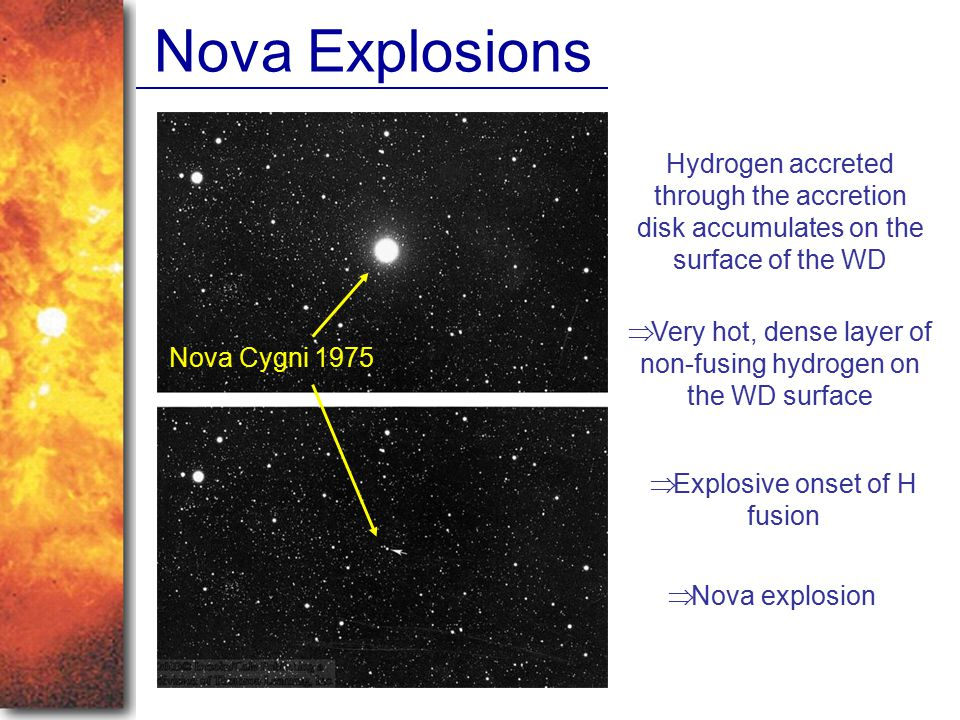 Nova Explosions Hydrogen accreted through the accretion disk accumulates on the surface of the WD.