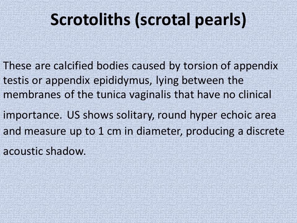 Scrotoliths (scrotal pearls)