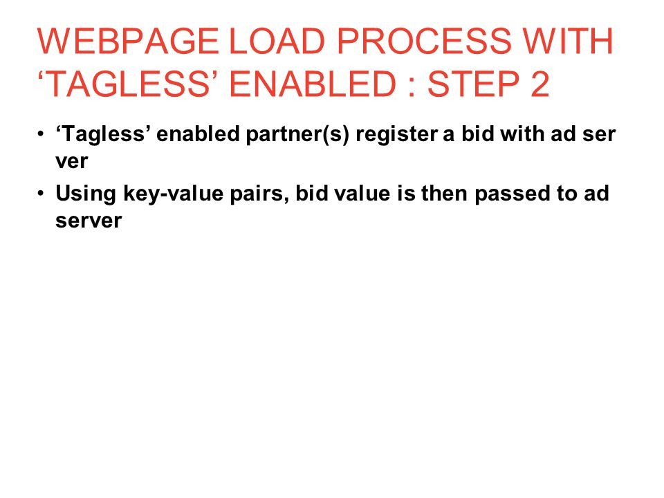 WEBPAGE LOAD PROCESS WITH 'TAGLESS' ENABLED : STEP 2