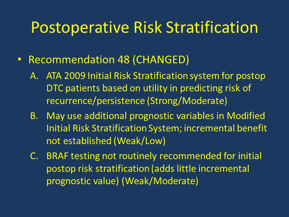 Postoperative Risk Stratification