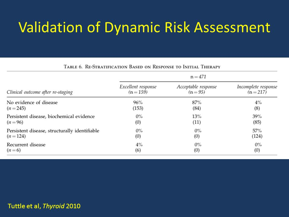 Validation of Dynamic Risk Assessment