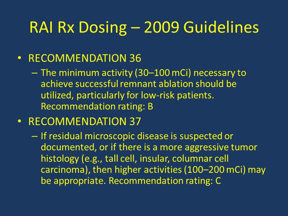 RAI Rx Dosing – 2009 Guidelines
