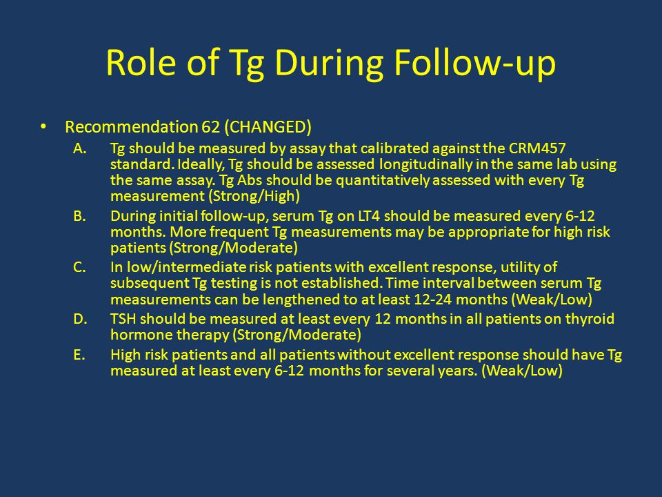 Role of Tg During Follow-up