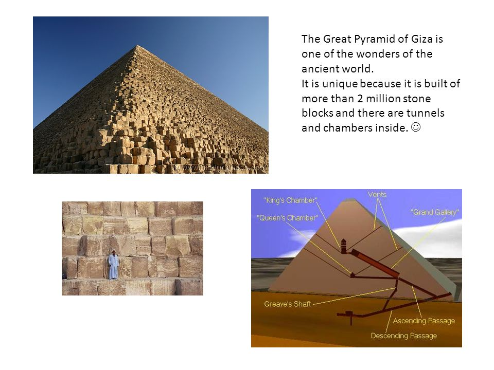 The Great Pyramid of Giza is one of the wonders of the ancient world.