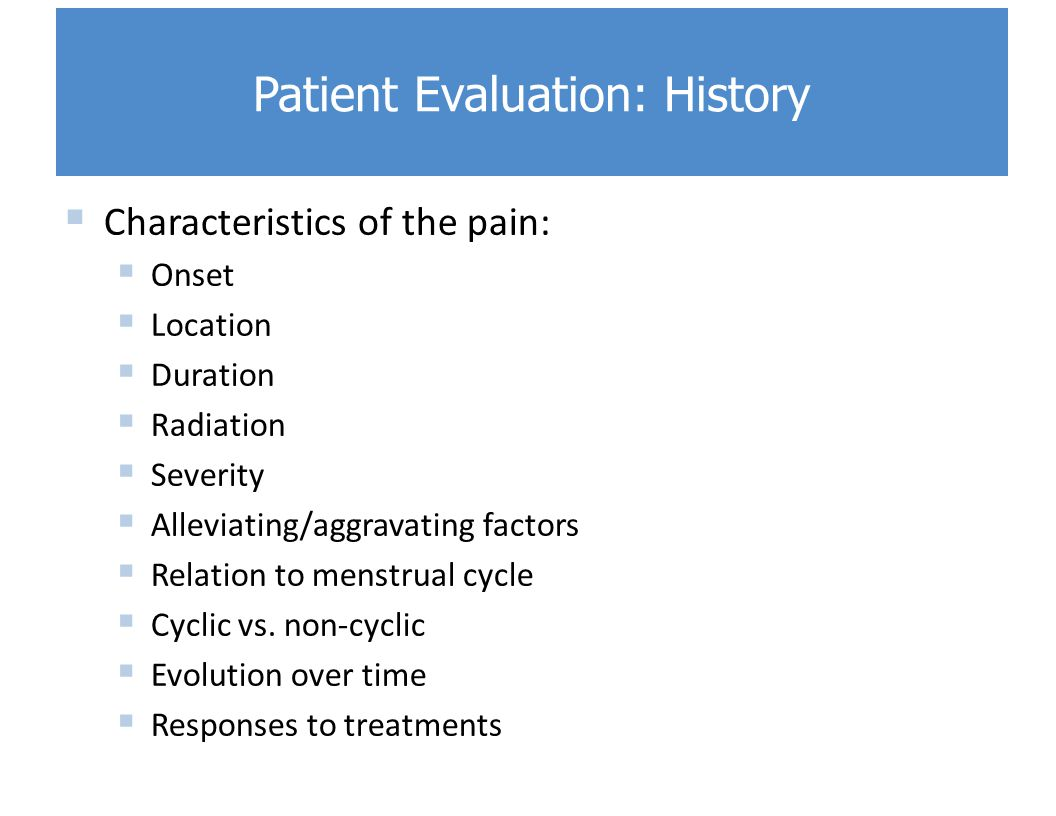 Patient Evaluation: History