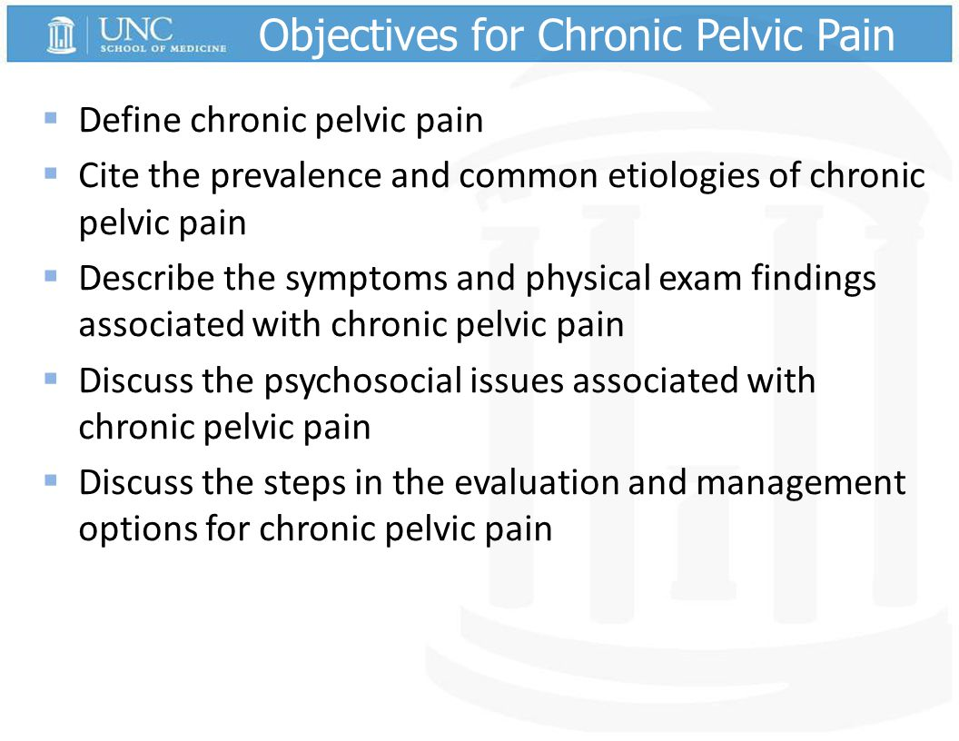 Objectives for Chronic Pelvic Pain