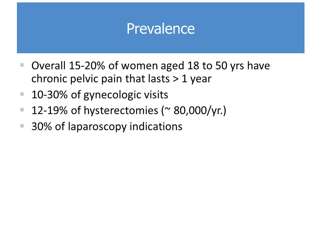 Prevalence Overall 15-20% of women aged 18 to 50 yrs have chronic pelvic pain that lasts > 1 year. 10-30% of gynecologic visits.