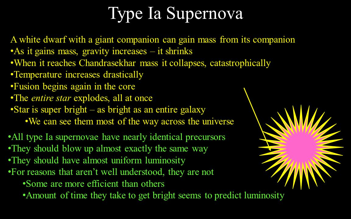 Type Ia Supernova A white dwarf with a giant companion can gain mass from its companion. As it gains mass, gravity increases – it shrinks.