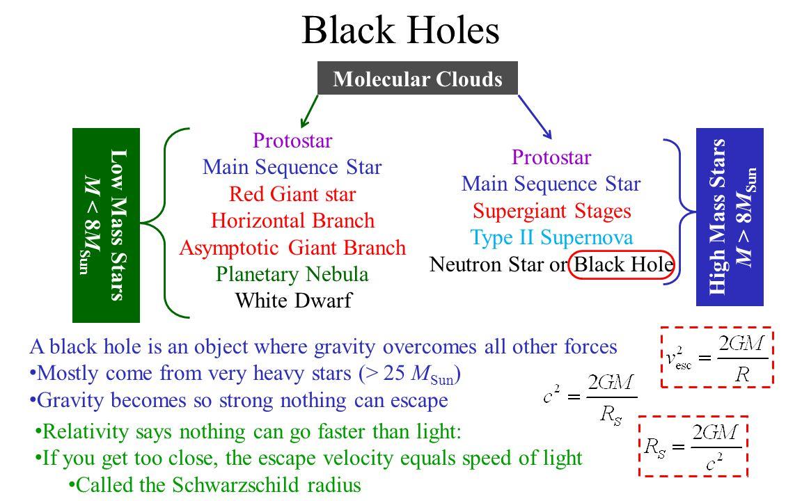 Black Holes Molecular Clouds Protostar High Mass Stars Low Mass Stars