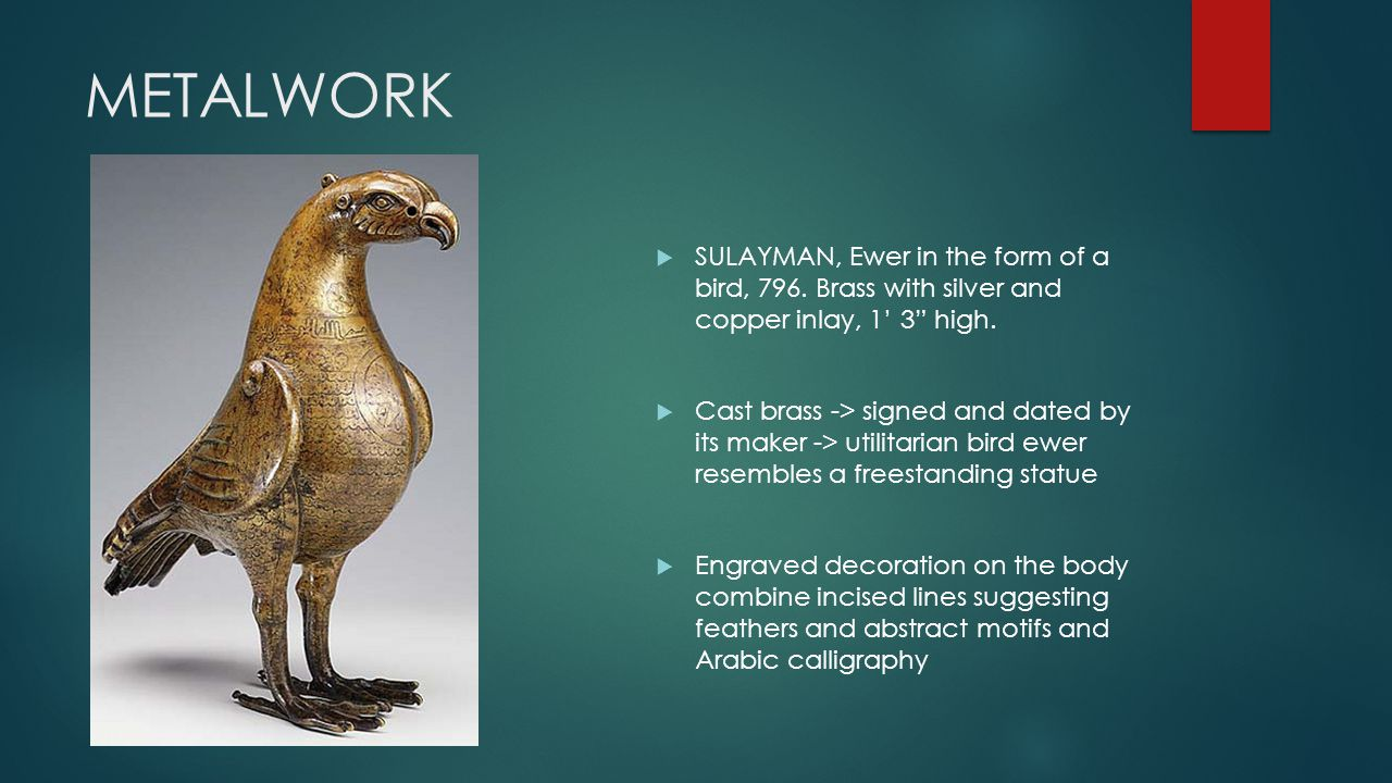 METALWORK SULAYMAN, Ewer in the form of a bird, 796. Brass with silver and copper inlay, 1' 3 high.