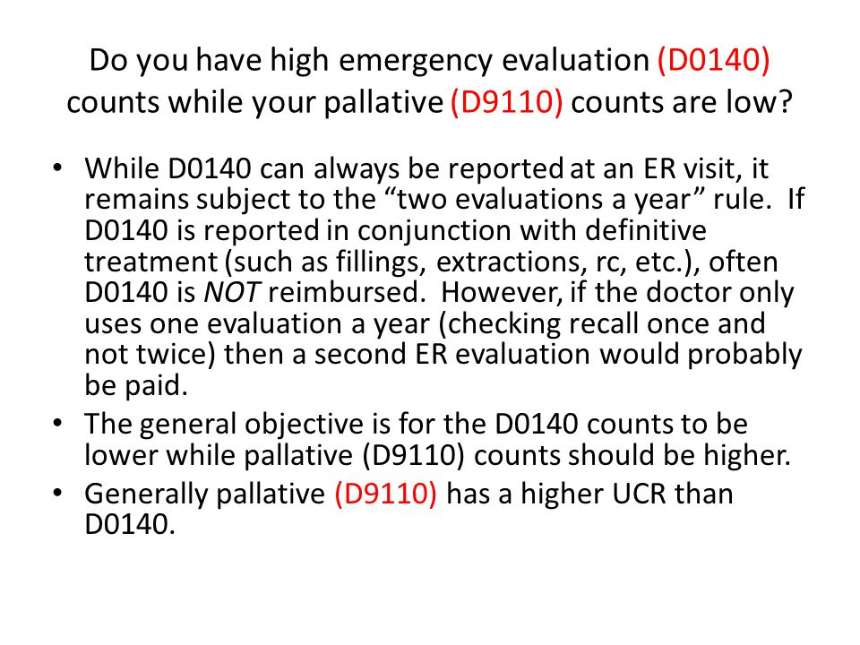 Do you have high emergency evaluation (D0140) counts while your pallative (D9110) counts are low
