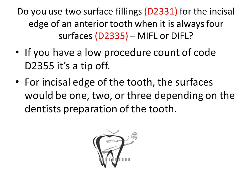 If you have a low procedure count of code D2355 it's a tip off.