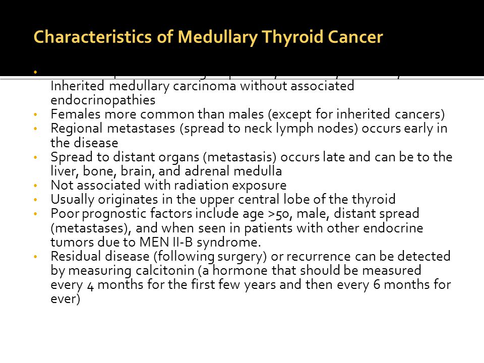 Characteristics of Medullary Thyroid Cancer