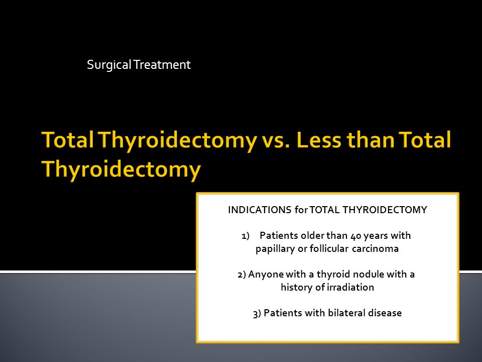 Total Thyroidectomy vs. Less than Total Thyroidectomy