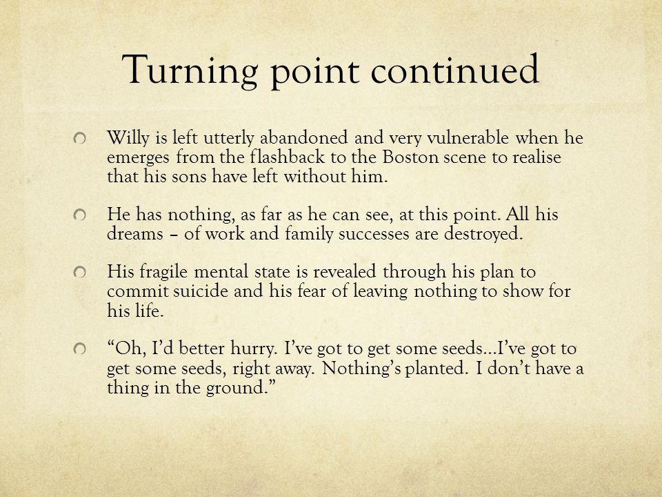 Turning point continued