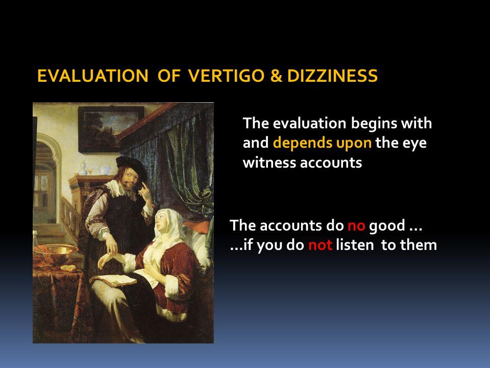 EVALUATION OF VERTIGO & DIZZINESS