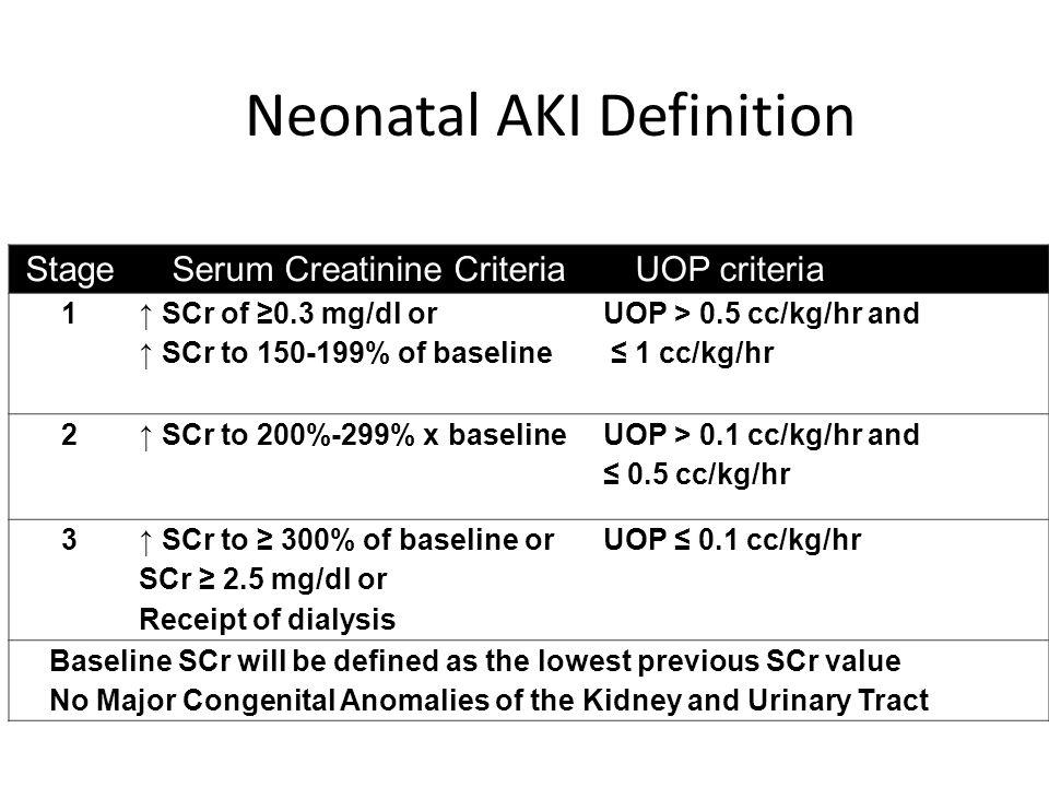 Neonatal AKI Definition