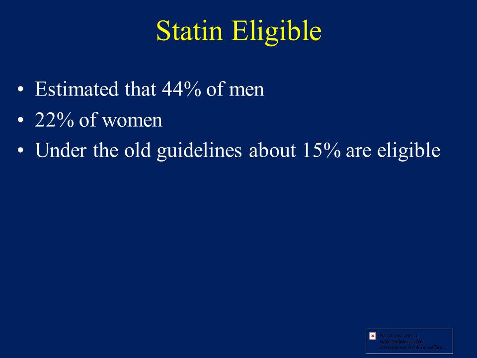Statin Eligible Estimated that 44% of men 22% of women