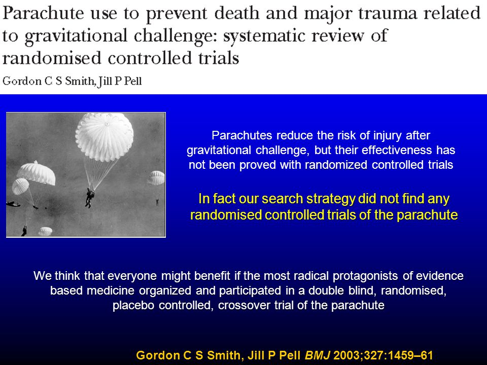 Parachutes reduce the risk of injury after gravitational challenge, but their effectiveness has not been proved with randomized controlled trials