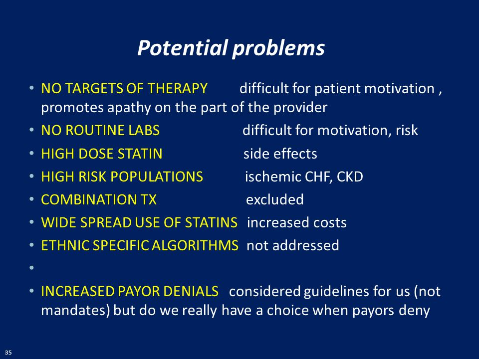 Potential problems NO TARGETS OF THERAPY difficult for patient motivation , promotes apathy on the part of the provider.