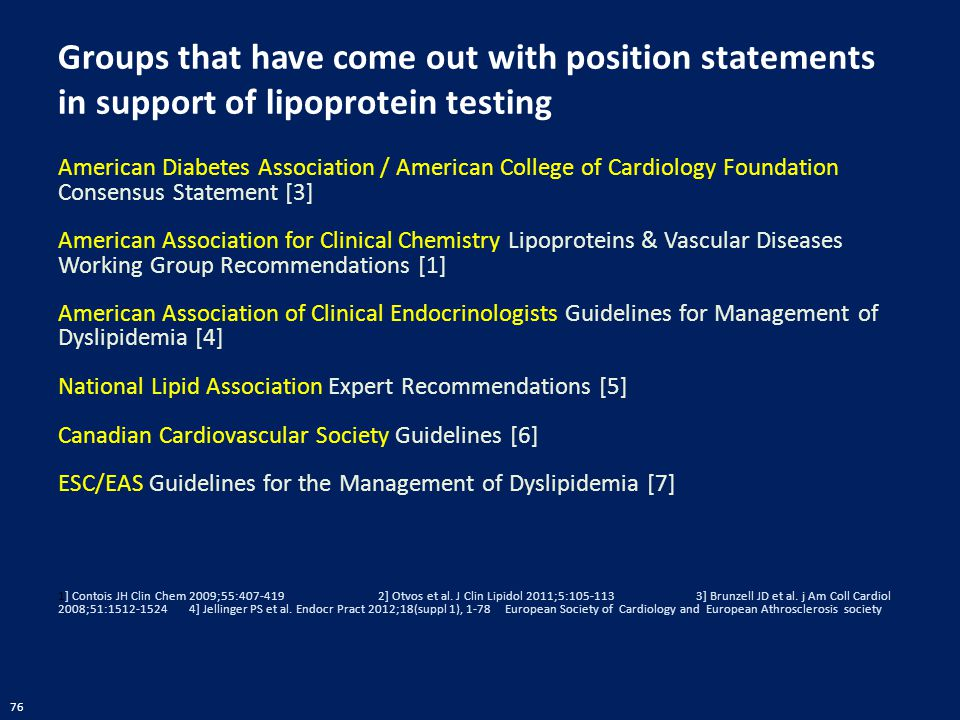 Groups that have come out with position statements in support of lipoprotein testing