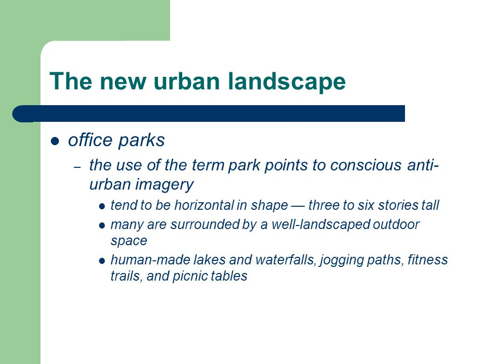 The new urban landscape