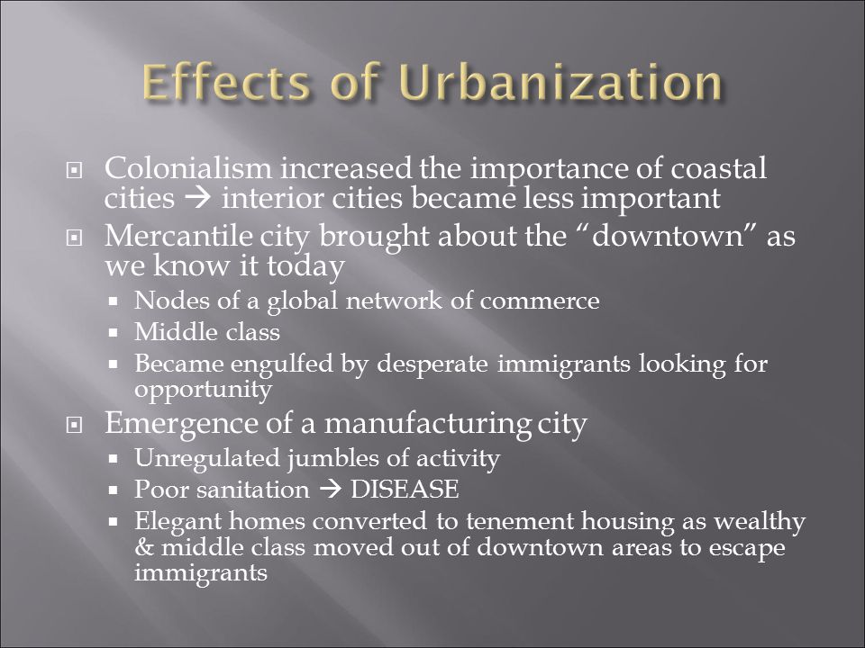 Effects of Urbanization