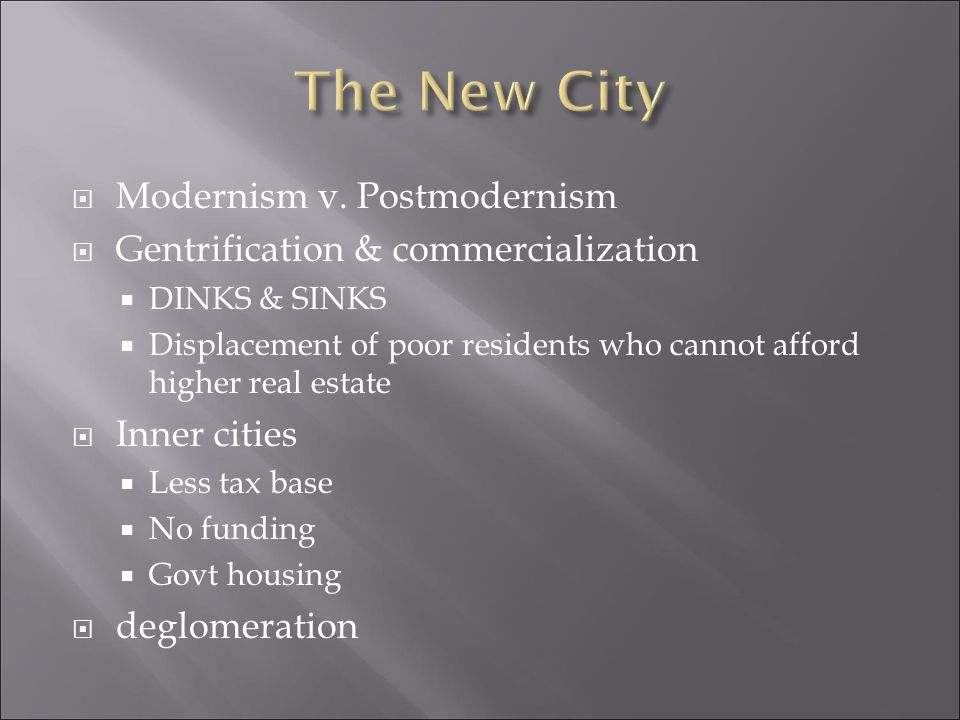 The New City Modernism v. Postmodernism