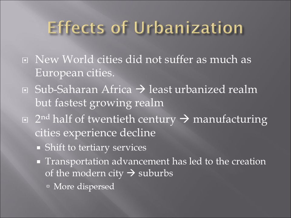 Effects of Urbanization