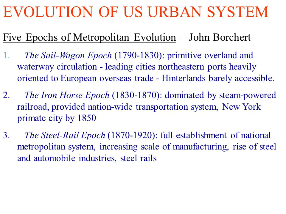 EVOLUTION OF US URBAN SYSTEM
