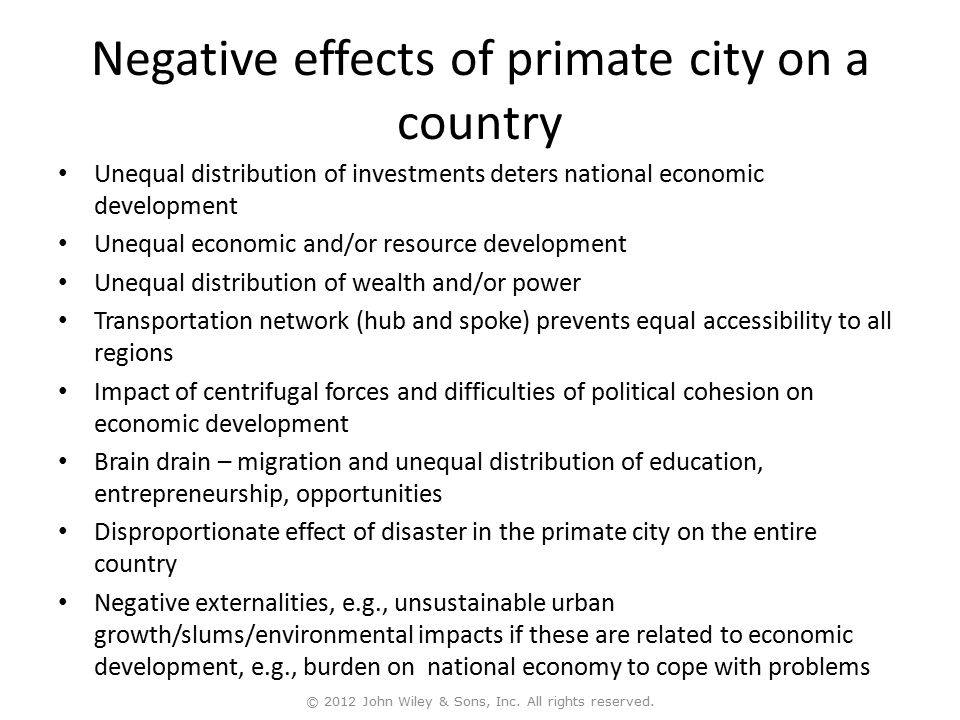 Negative effects of primate city on a country