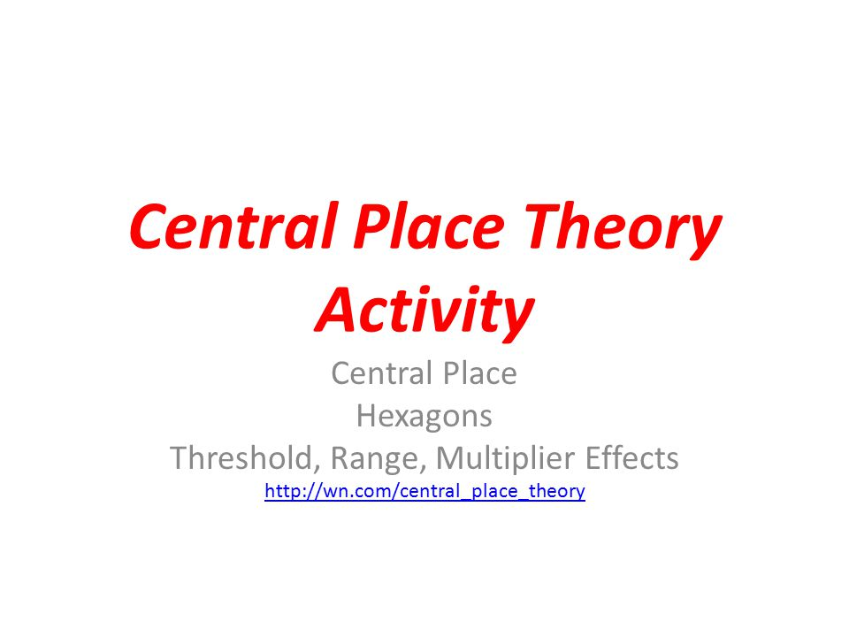 Central Place Theory Activity