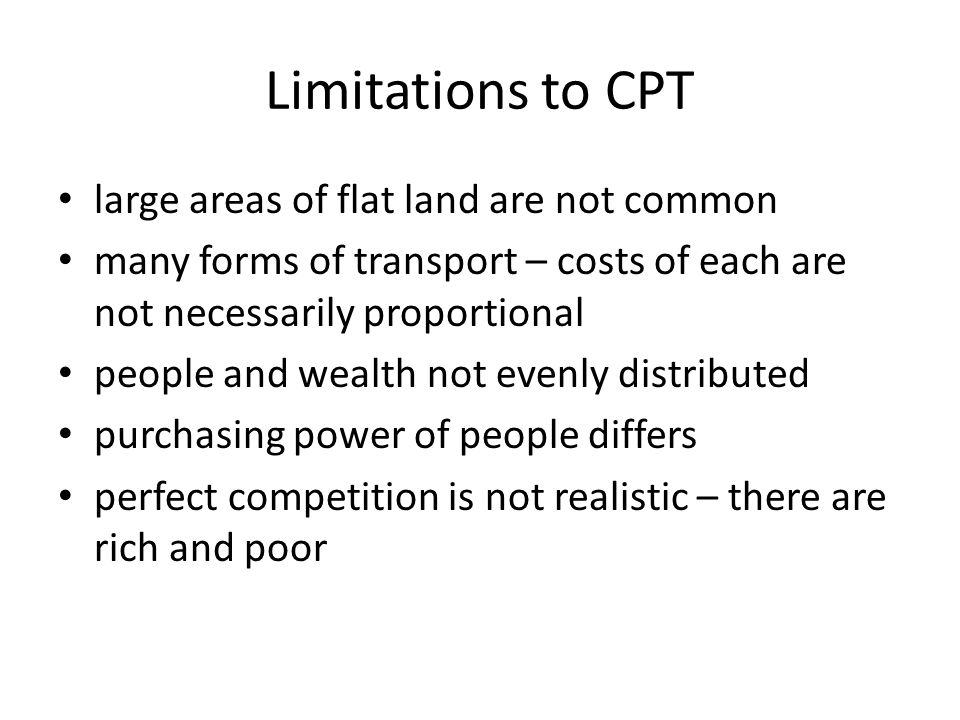 Limitations to CPT large areas of flat land are not common